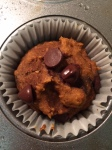 chocolate chip pumpkin muffin close